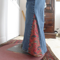 Size 14 Womens Bell Bottom Blue Jeans Red Blue Yellow Paisley Insert upcycled refashioned hippie boho bohemian gypsy cowgirl glam bellbottom