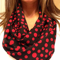 Soft, red and black polka dot, all seasons infinity scarf