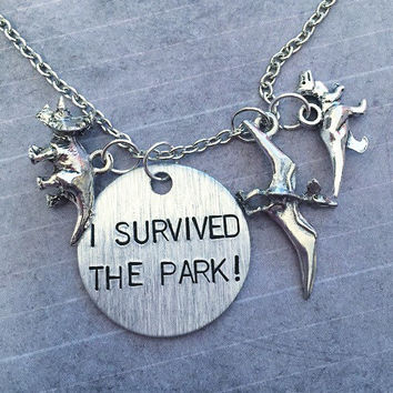 I Survived The Park Necklace - Fandom Necklace - Dinosaurs Jewelry - Jurassic Park Inspired - Jurassic World Inspired - Dinosaurs