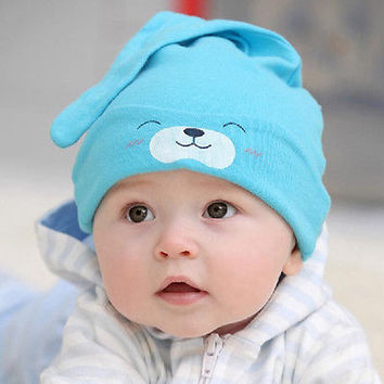 1 Pcs Soft Cotton Sleep Hat for Infant Children Kids Beanies with Smile R9