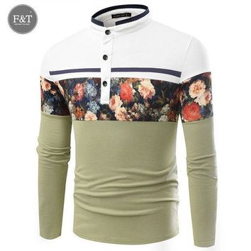 ESBON Men Polo Shirts Floral Print Patchwork Long Sleeve Camisa Masculina Mens Polo Shirts Pique Business Casual Sportswear Breathable