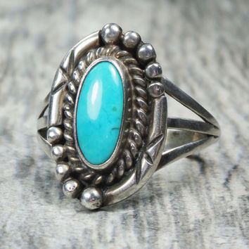 Vintage Turquoise Sterling Silver Ring Turquoise Silver Ring Sterling Turquoise Ring Sterling Silver Native American Turquoise Sterling Ring
