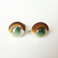 Operculum Shell Earrings Cats Eye Screw Back Vintage Jewelry
