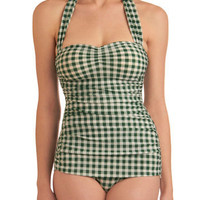 Bathing Beauty One Piece in Green Gingham | Mod Retro Vintage Bathing Suits | ModCloth.com