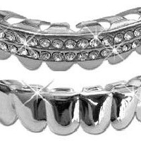 Hip Hop Lower Teeth Silver Platinum Mouth Grillz Set (Bottom) 2 pc Set