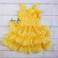Yellow Easter Dress..Flower Girl Dress..1st Birthday Dress.. Tutu Dress.Tea Party..Yellow.newborn coming Home Lace Dress..fairy tutu dress