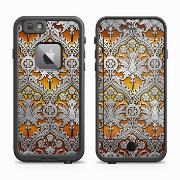 Vintage Stainless Design on Gold Backdrop Skin for the Apple iPhone LifeProof Fre Case