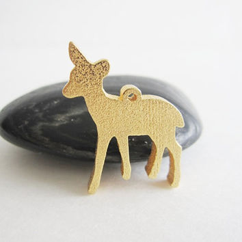 3d Printed Baby Fawn Deer Pendant for necklace Jewelry Trinket 3d Print Geek Gift 3d printing 3-d art woodland animal cute creature gold ton