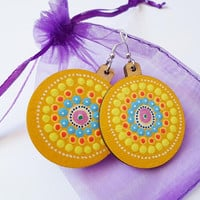 Yellow Hippie Gypsy Mandala Earrings, Wooden  Tribal Earrings, Mandala Dot Art Earrings Jewelry, Yoga Boho Earrings, Zen Art Ethnic Earrings