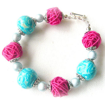 Turquoise Beaded Bracelet SALE 30% Off - Polymer Clay Bracelet - Pale Blue Hot Pink Cerise Millefiori Rose Flowers - Bespoke Design