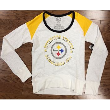 Pittsburgh Steelers Women's White Wash Long Shot Tee Shirt