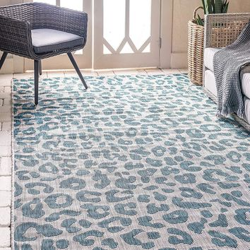 7190 Teal Leopard Print Outdoor-Indoor Area Rugs