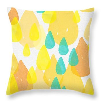"Drops of Sunshine- abstract painting Throw Pillow 14"" x 14"""
