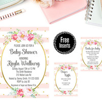 Custom Baby Shower Party Printable - Watercolor Peony Flowers Baby Shower Party Invitation - Watercolor Floral Party Invitation Printable