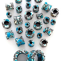 Blue Agate Stone Tunnels - Sold by Pair (Choose Size) (6G (4mm))