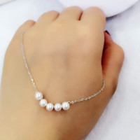 Simple Ladies Jewelry 925 Sterling Silver Necklace White Shell Pearl Pendant Necklaces-0411