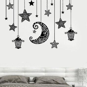Wall Decal Moon Stars Light Romanic Mural For Bedroom Vinyl Decal Unique Gift (z3190)