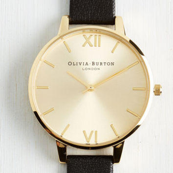 Minimal Undisputed Class Watch in Black Gold - Big by Olivia Burton from ModCloth