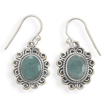 Oxidized Rough-cut Emerald French Wire Earrings
