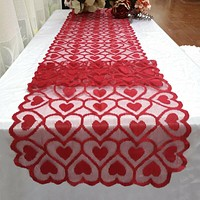 Heart tablecloth table runner wedding dinner banquet home decoration red Valentines Day table runner banquet home decoration