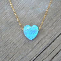 Heart Opal Necklace, Spring Fashion, 14k Gold filled chain, Blue Heart Jewelry, Opal Jewelry, Gift for her