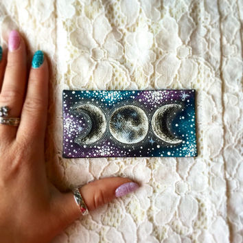 Tiny Hand Painted Galaxy and Moon Phases Magnet