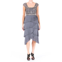 Sue Wong Womens Tiered Embellished Cocktail Dress