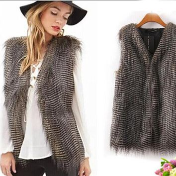 Fashion Women Faux Fur Vest Long Peacock Fur Sleeveless Coat Autumn Winter Outerwear Overcoat FS0225