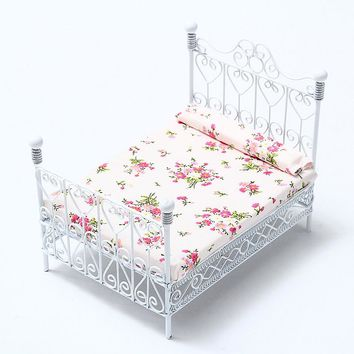Dollhouse Miniature Bedroom Furniture Metal Bed With Mattress White European