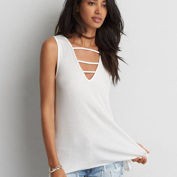 AEO Soft & Sexy Ribbed Jegging Tank , White