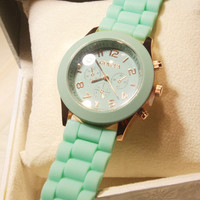 Mint Color Silicone Watch 01