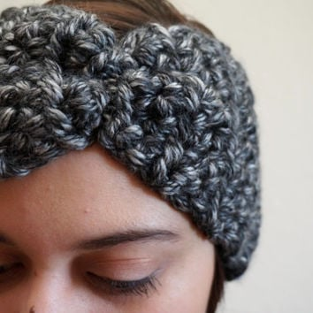 heathered headband, chunky head wrap, crochet headband, black & white, winter headband / THE WYKEN / Heathered Black White / Ready to Ship!