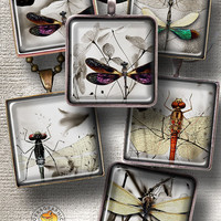 "Dragonflies Minimal - Printable Digital Downloads - 1.5""x1.5"" tiles - Digital Collage Sheet CG-564S for Jewelry, Crafts"