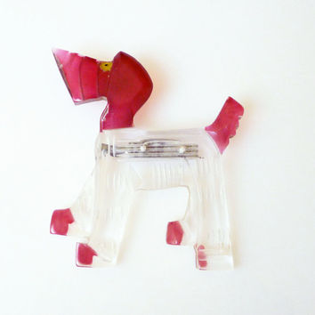 Lucite Dog Brooch Airedale Terrier Hound Early Plastic Clear Red 1940s Vintage Jewelry