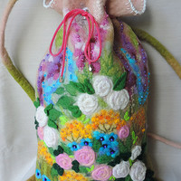 Wool backpack with roses and flowers, Felted backpack