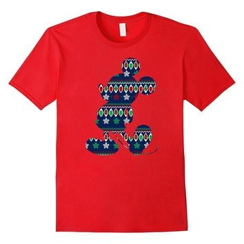 Disney Mickey Mouse Christmas Light Outline T Shirt