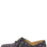 Restricted Beacan Navy Print Oxford Flats