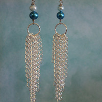 Chain Earrings, Teal and Silver Earrings, Chains