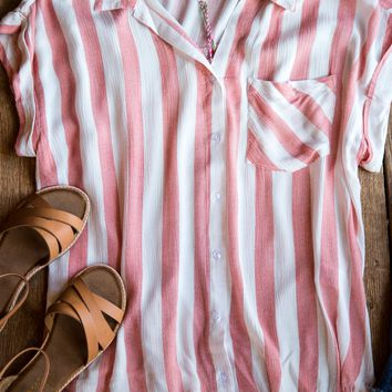 Catalina Striped Top, Red Multi