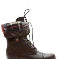 Brown Faux Leather Plaid Print Fold Over Combat Boots
