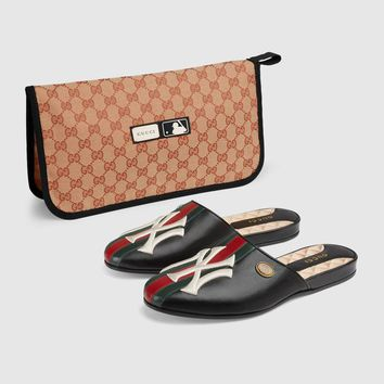 Gucci NY Yankees™Adornment Ladies classic GG canvas Slippers