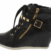 BUBBLE55 BLACK STUDDED SNEAKER WEDGE BOOT