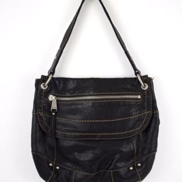 Black Leather Fossil Purse Handbag 11 Inches x 13 Inches