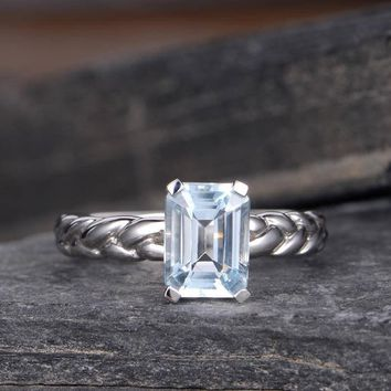 Natural Blue topaz Engagement Ring Emerald Cut NOVEMBER Birthstone