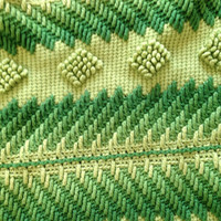 Vintage Afgan Knitted Blanket in Green Hues, Lime Green, Kelly Green