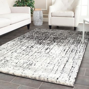 Safavieh Retro Mid-Century Modern Abstract Black/ Light Grey Distressed Rug (5' x 8') | Overstock.com Shopping - The Best Deals on 5x8 - 6x9 Rugs