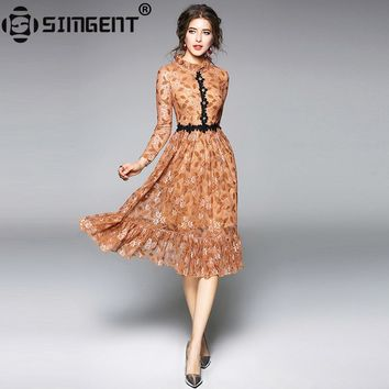 Simgent New Fashion Spring Women Long Sleeve Floral Lace Color Block Stand Collar Elegant Slim Mermaid Dress Vestidos SG712282