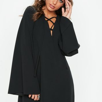 Missguided - Black Smock Lace Up Flared Sleeve Mini Dress