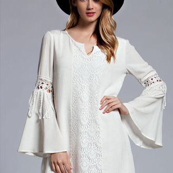 Playful Gypsy Bell Sleeve Dress - Lucky Duck Boutique