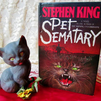 Stephen King Pet Sematary Book Novel Vintage Horror Hardcover First Print Edition 1983 Dust Jacket Zombie Fiction Spooky Collectible Gift